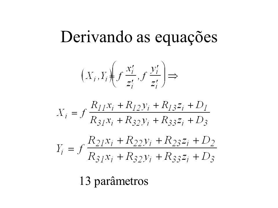 Derivando as equações = 13 parâmetros