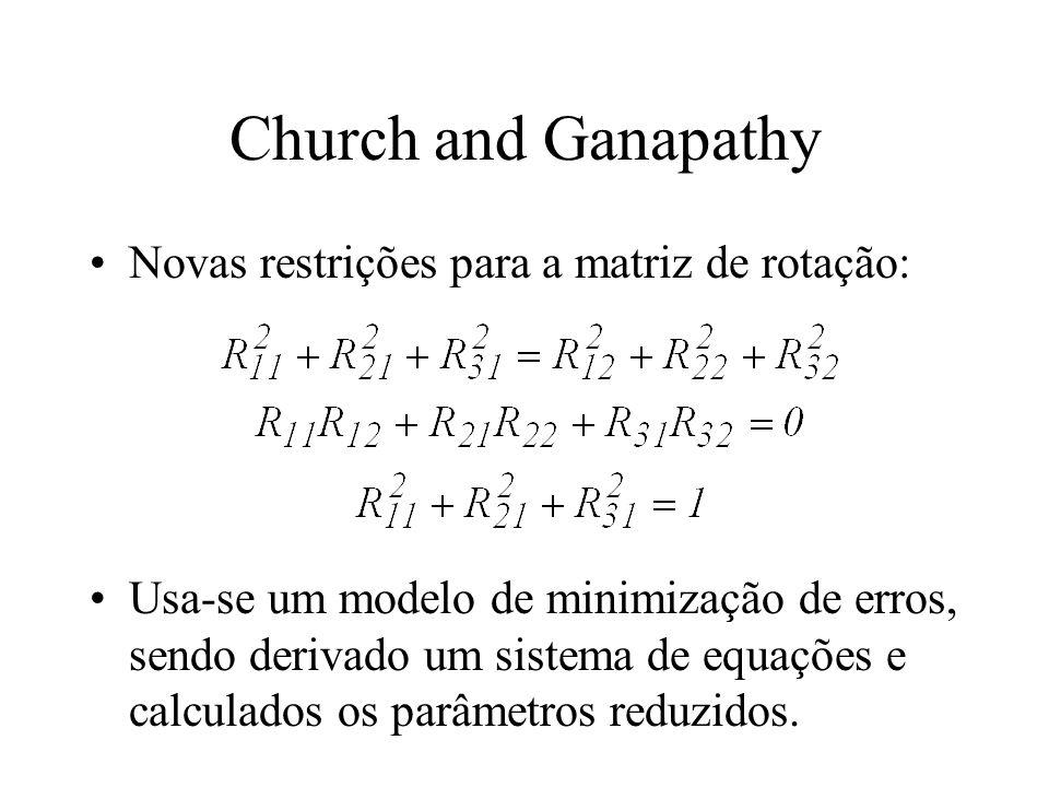 Church and Ganapathy Novas restrições para a matriz de rotação: