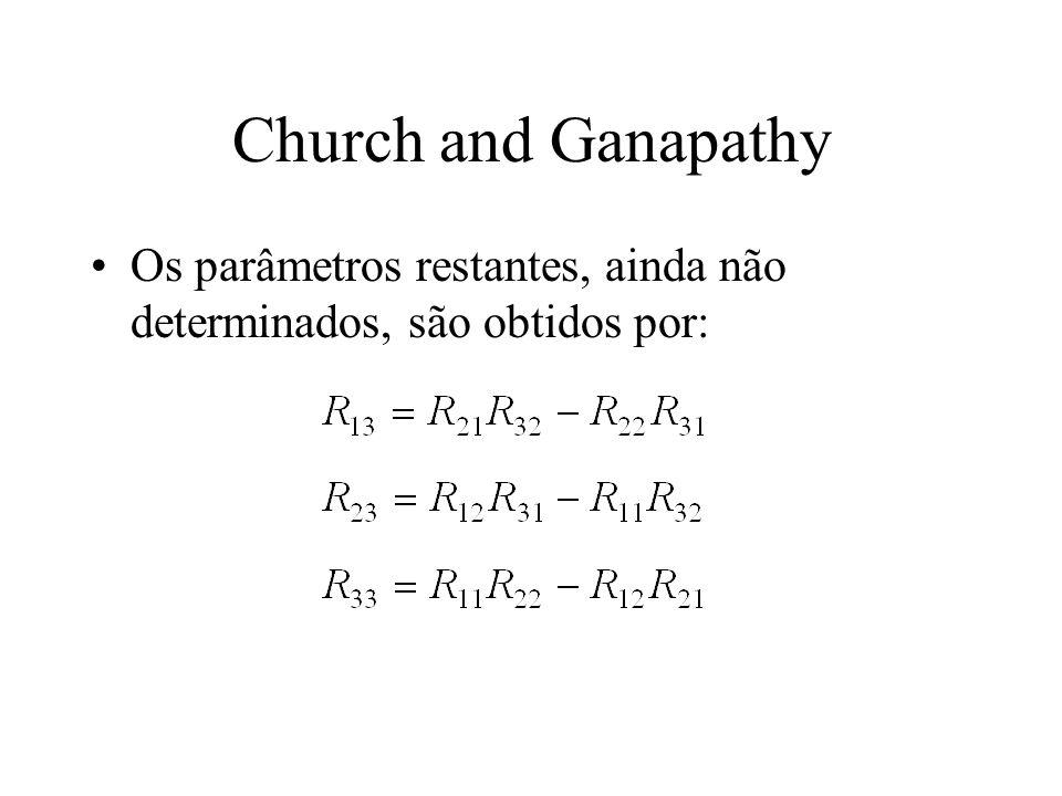 Church and Ganapathy Os parâmetros restantes, ainda não determinados, são obtidos por: