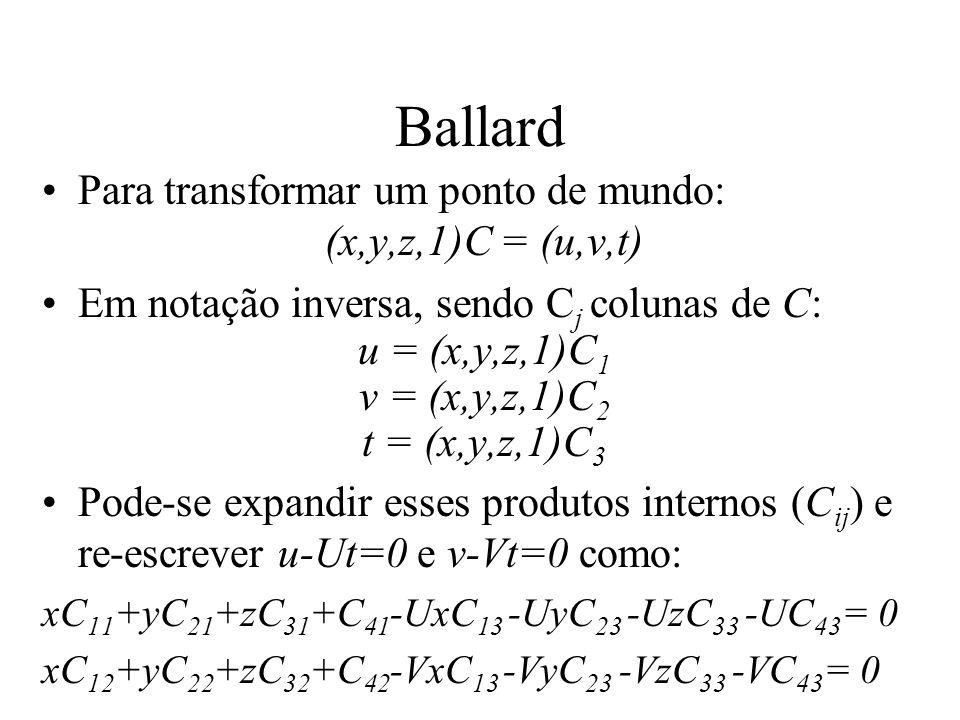 Ballard Para transformar um ponto de mundo: (x,y,z,1)C = (u,v,t)