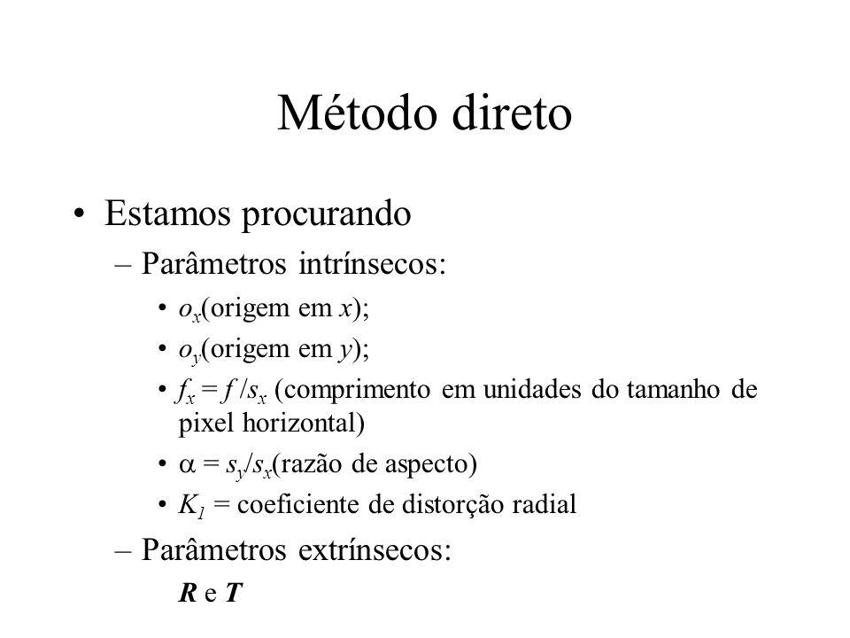 Método direto Estamos procurando Parâmetros intrínsecos: