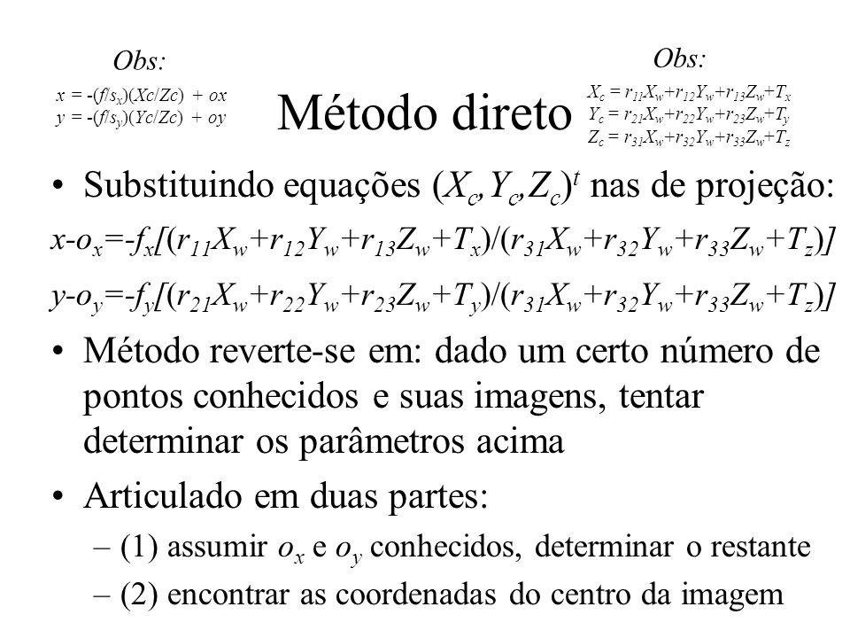Método direto Substituindo equações (Xc,Yc,Zc)t nas de projeção: