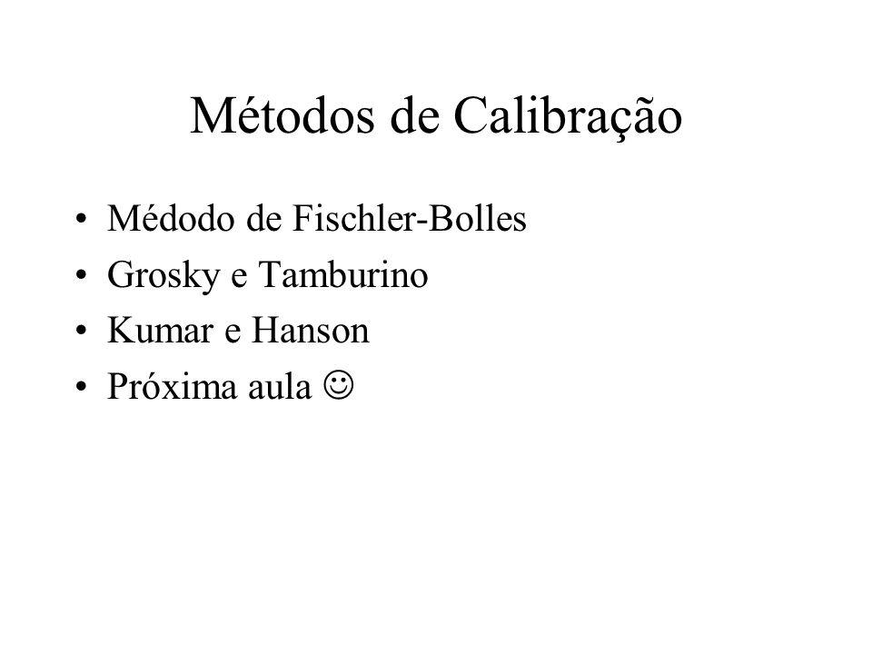 Métodos de Calibração Médodo de Fischler-Bolles Grosky e Tamburino