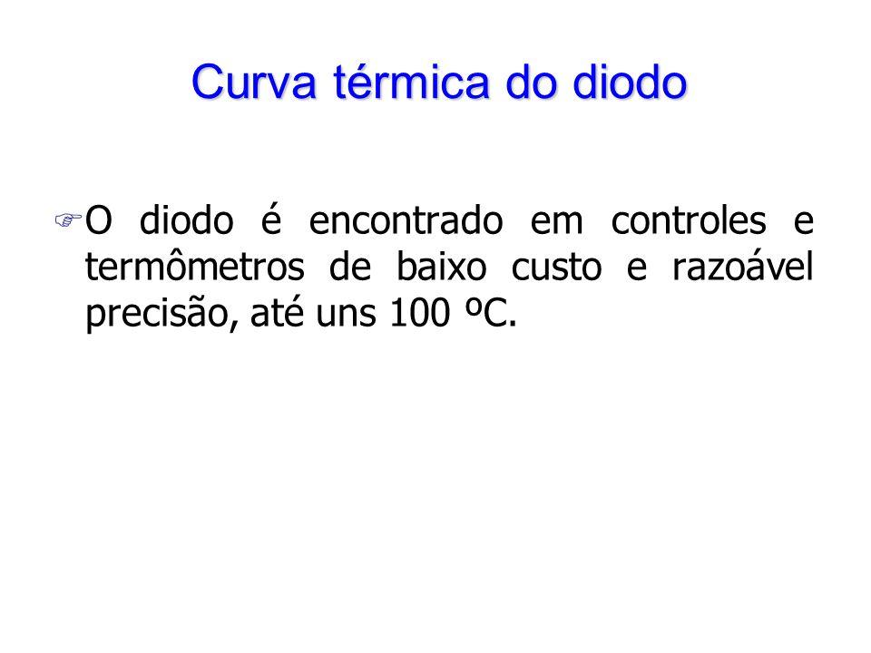 Curva térmica do diodo O diodo é encontrado em controles e termômetros de baixo custo e razoável precisão, até uns 100 ºC.