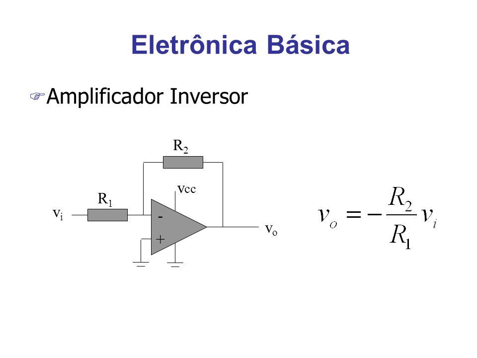 Eletrônica Básica Amplificador Inversor R2 vcc + - R1 vi vo
