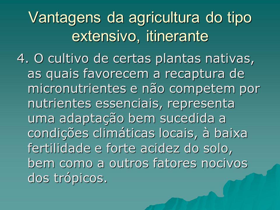 Vantagens da agricultura do tipo extensivo, itinerante