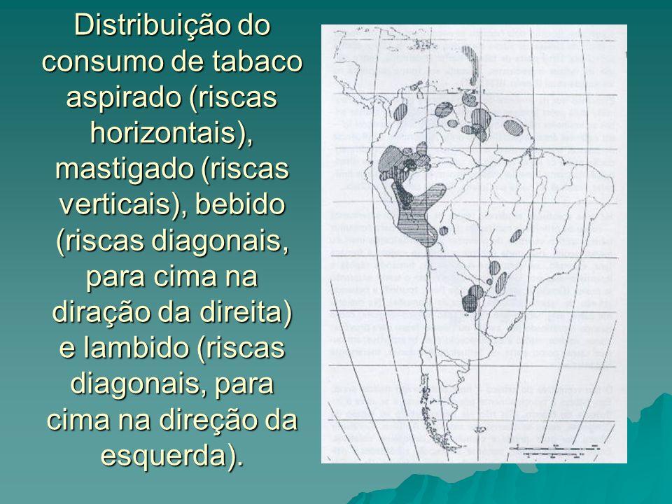 Distribuição do consumo de tabaco aspirado (riscas horizontais), mastigado (riscas verticais), bebido (riscas diagonais, para cima na diração da direita) e lambido (riscas diagonais, para cima na direção da esquerda).