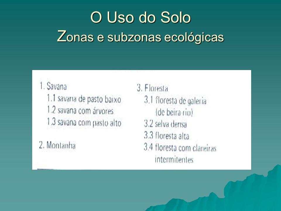 O Uso do Solo Zonas e subzonas ecológicas
