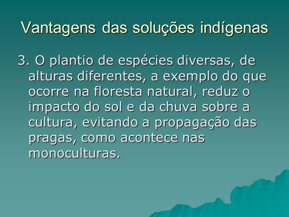 Vantagens das soluções indígenas