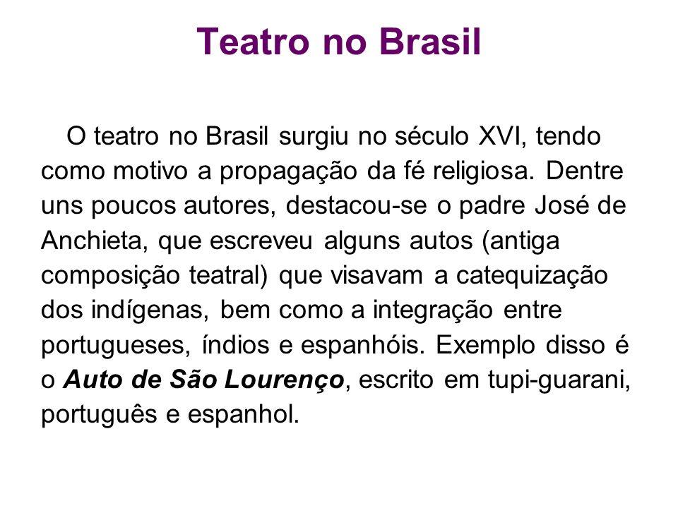 Teatro no Brasil O teatro no Brasil surgiu no século XVI, tendo