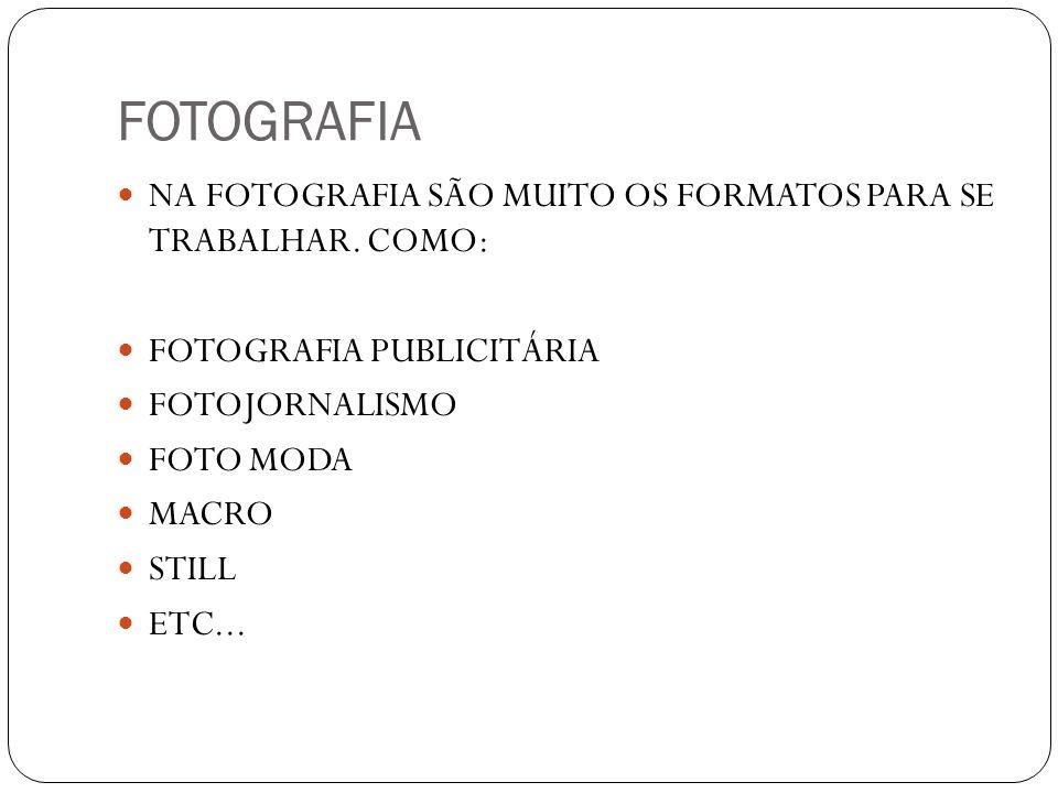 FOTOGRAFIA NA FOTOGRAFIA SÃO MUITO OS FORMATOS PARA SE TRABALHAR. COMO: FOTOGRAFIA PUBLICITÁRIA. FOTOJORNALISMO.