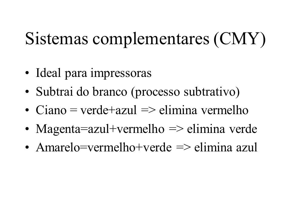 Sistemas complementares (CMY)