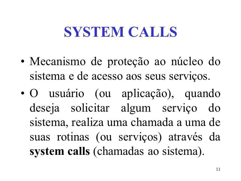 SYSTEM CALLSMecanismo de proteção ao núcleo do sistema e de acesso aos seus serviços.
