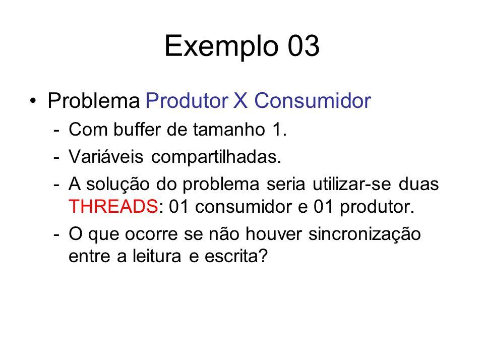 Exemplo 03 Problema Produtor X Consumidor Com buffer de tamanho 1.