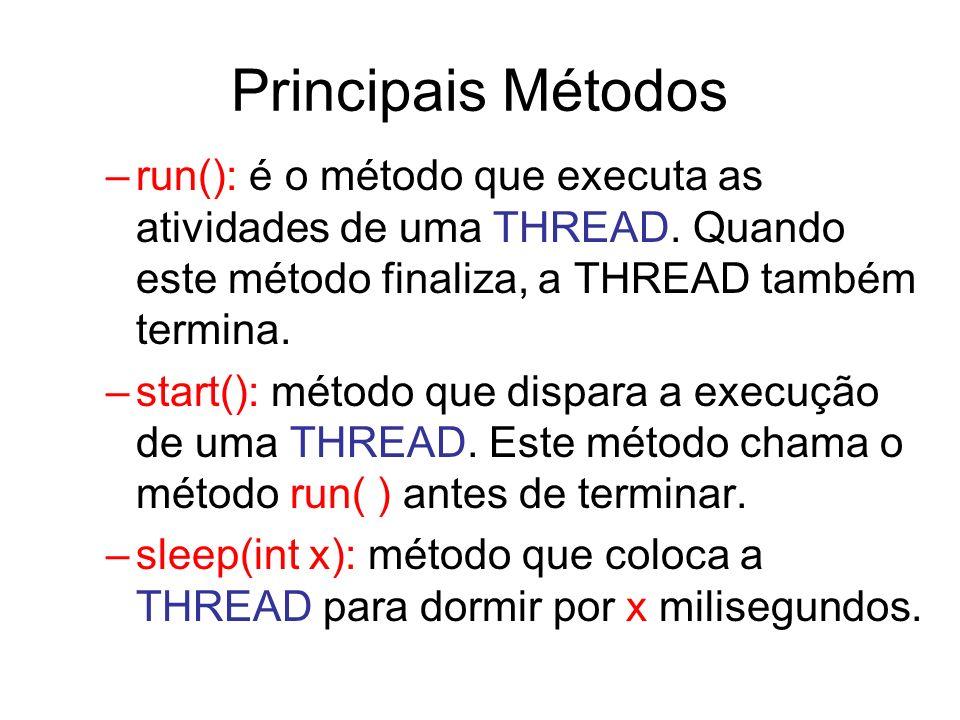 Principais Métodos run(): é o método que executa as atividades de uma THREAD. Quando este método finaliza, a THREAD também termina.