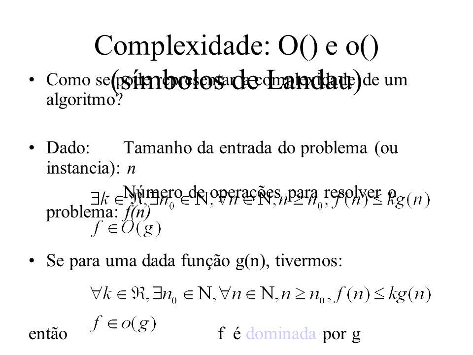 Complexidade: O() e o() (símbolos de Landau)
