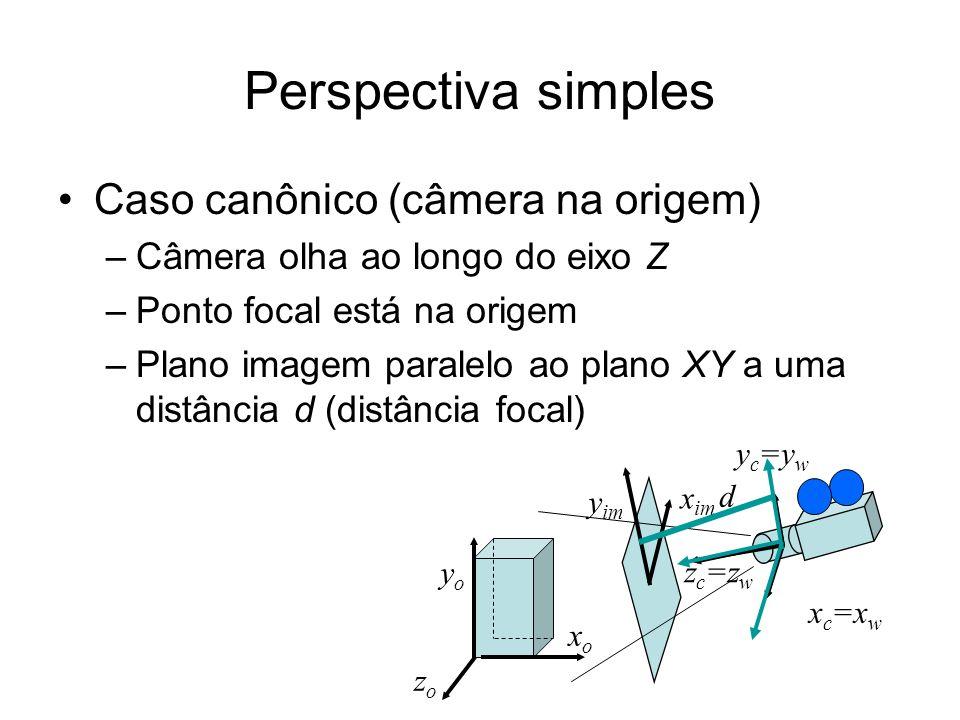 Perspectiva simples Caso canônico (câmera na origem)