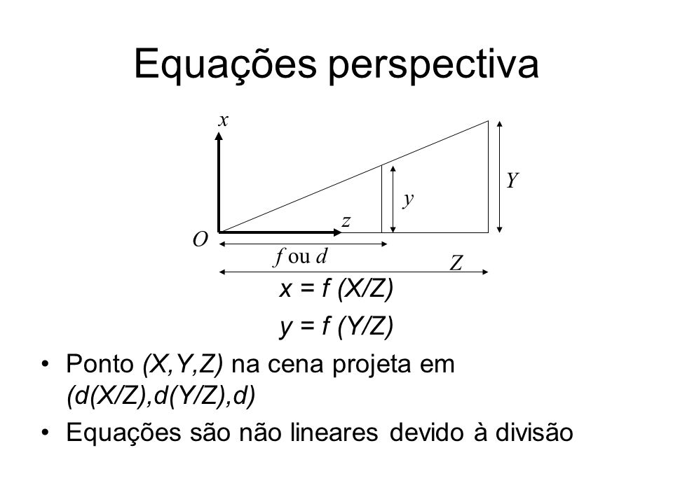 Equações perspectiva x = f (X/Z) y = f (Y/Z)