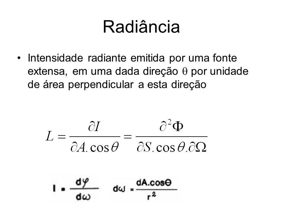 Radiância Intensidade radiante emitida por uma fonte extensa, em uma dada direção  por unidade de área perpendicular a esta direção.