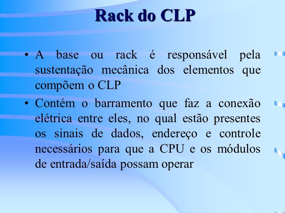 Rack do CLP A base ou rack é responsável pela sustentação mecânica dos elementos que compõem o CLP.