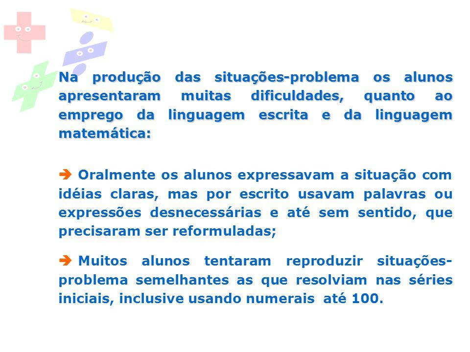 Na produção das situações-problema os alunos apresentaram muitas dificuldades, quanto ao emprego da linguagem escrita e da linguagem matemática: