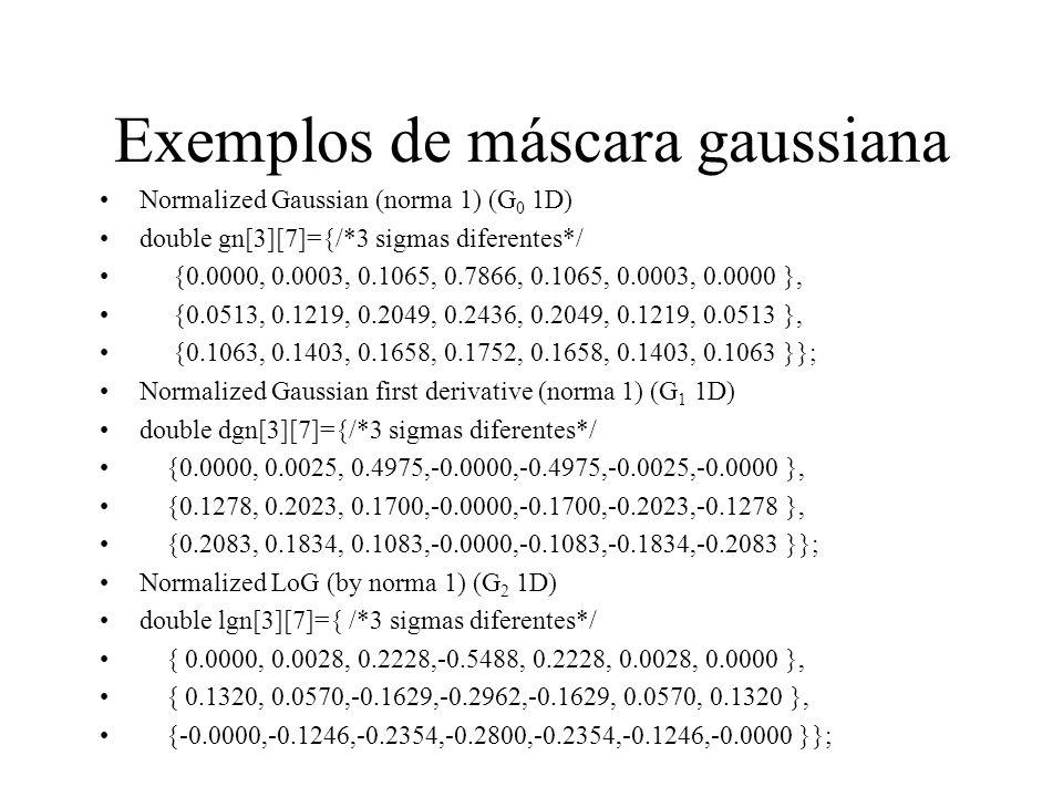 Exemplos de máscara gaussiana
