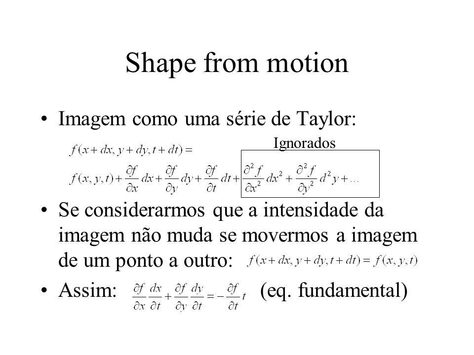 Shape from motion Imagem como uma série de Taylor: