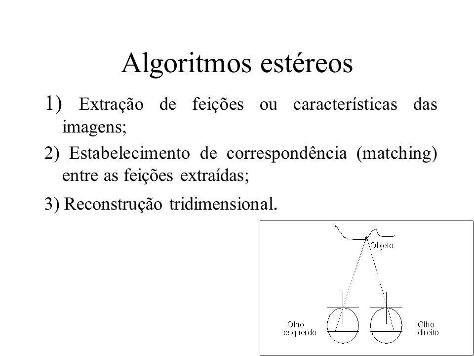 Algoritmos estéreos 1) Extração de feições ou características das imagens;