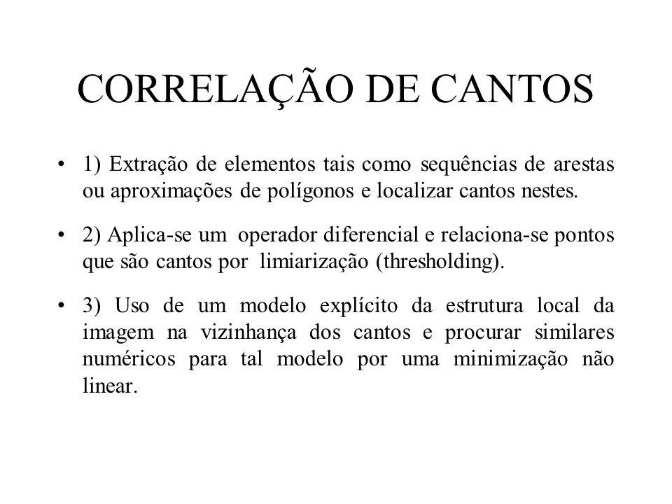 CORRELAÇÃO DE CANTOS 1) Extração de elementos tais como sequências de arestas ou aproximações de polígonos e localizar cantos nestes.