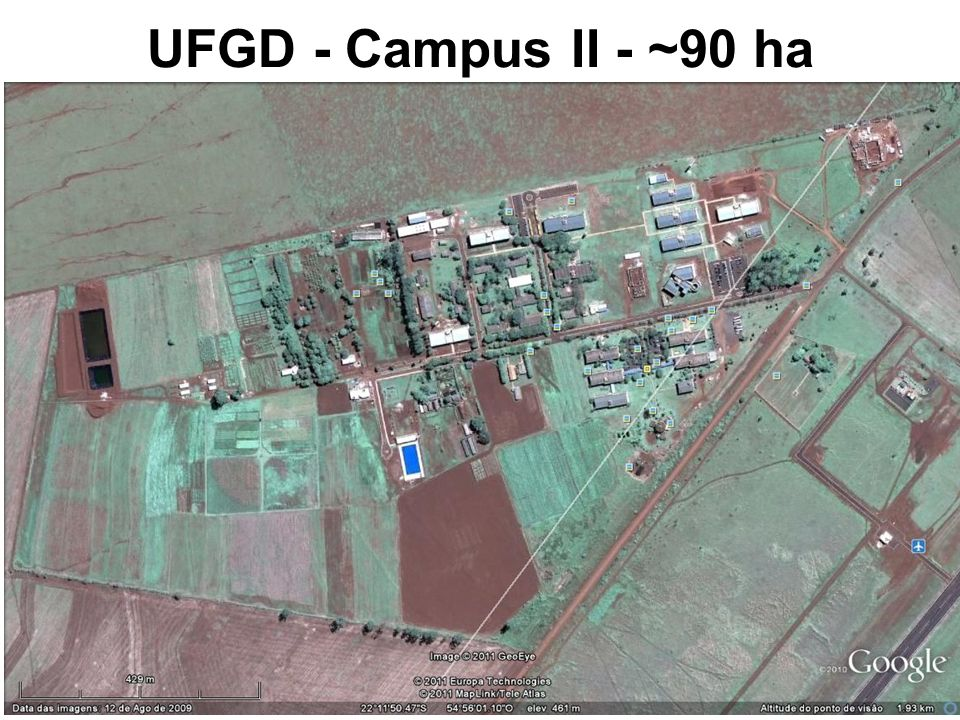 UFGD - Campus II - ~90 ha Fonte: Google Earth