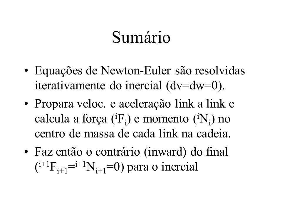 Sumário Equações de Newton-Euler são resolvidas iterativamente do inercial (dv=dw=0).