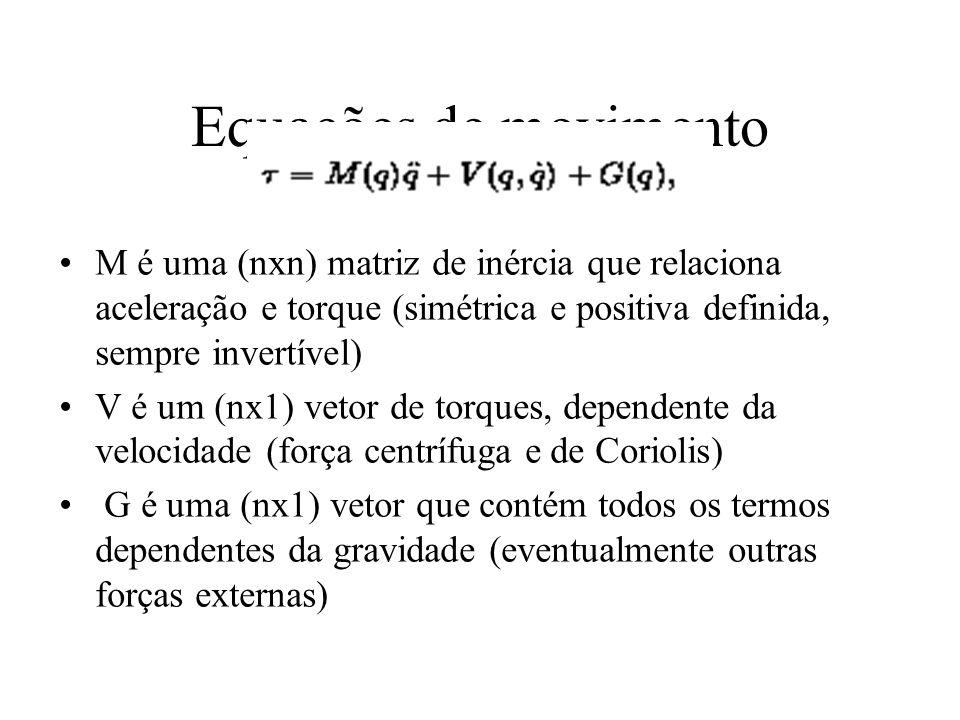 Equações de movimento M é uma (nxn) matriz de inércia que relaciona aceleração e torque (simétrica e positiva definida, sempre invertível)