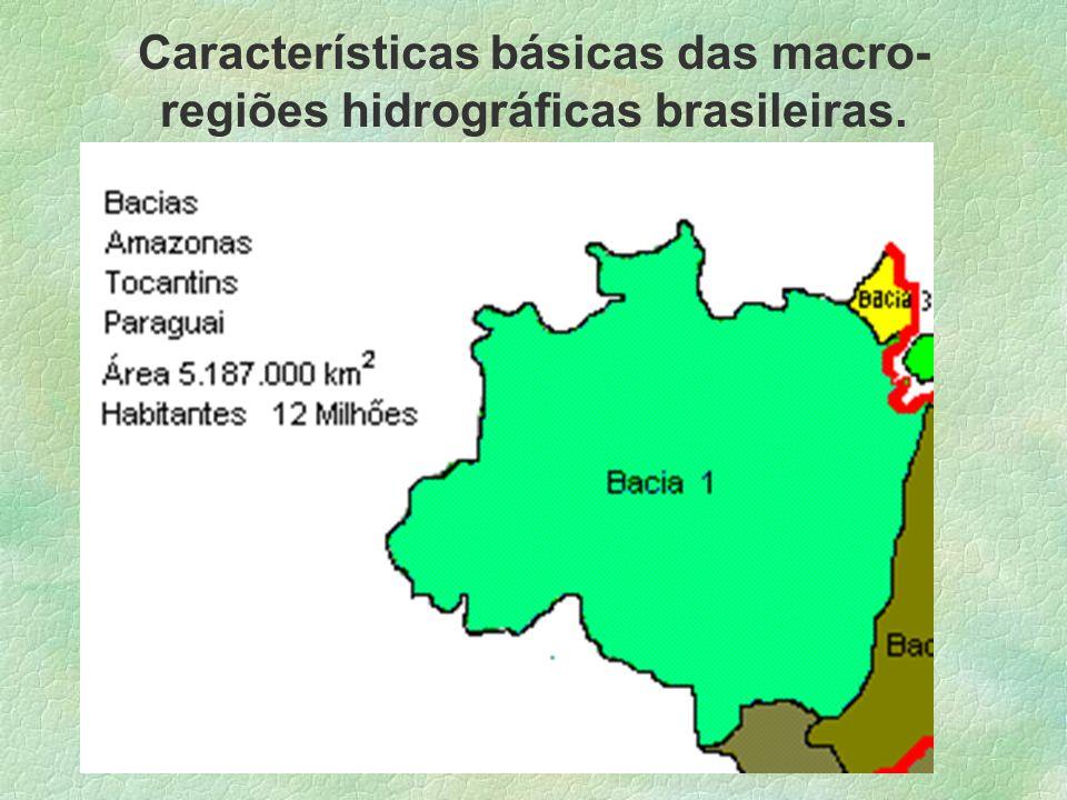 Características básicas das macro-regiões hidrográficas brasileiras.
