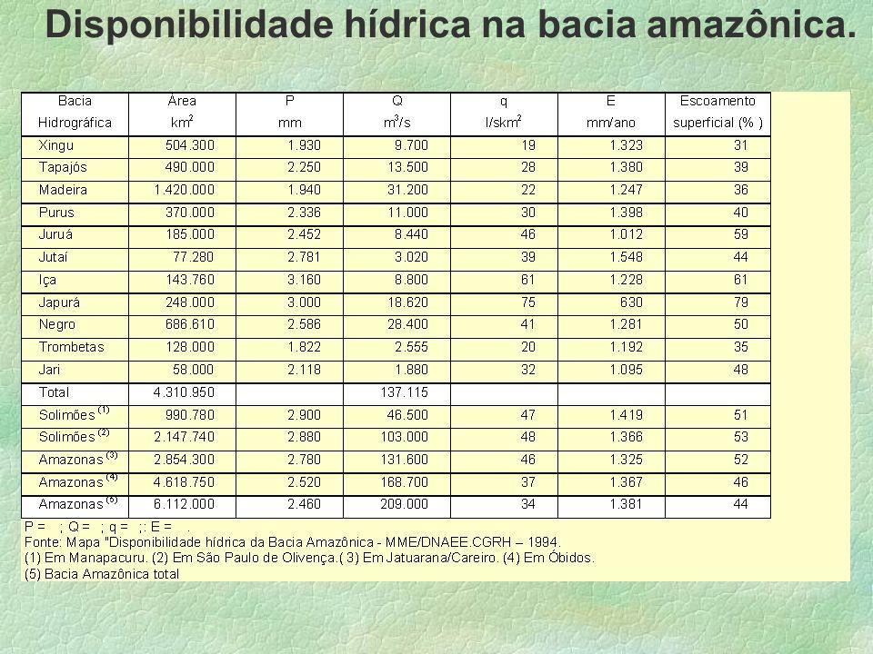 Disponibilidade hídrica na bacia amazônica.