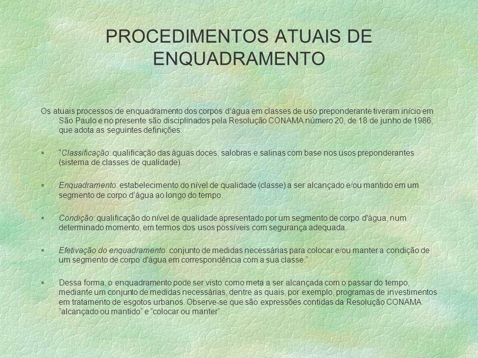 PROCEDIMENTOS ATUAIS DE ENQUADRAMENTO