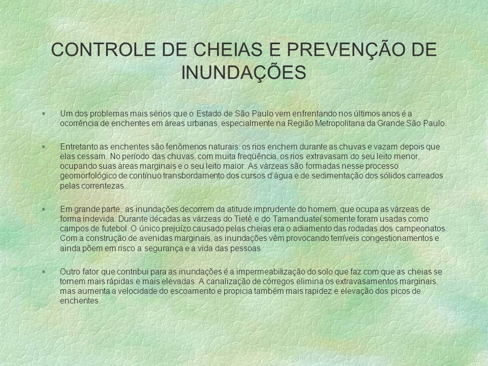CONTROLE DE CHEIAS E PREVENÇÃO DE INUNDAÇÕES