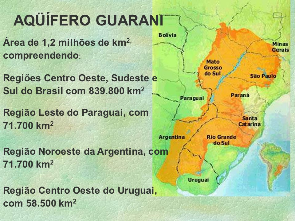 AQÜÍFERO GUARANI Área de 1,2 milhões de km2, compreendendo: