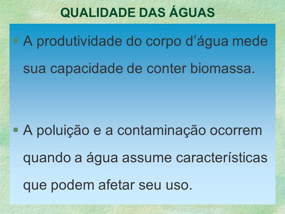 QUALIDADE DAS ÁGUAS A produtividade do corpo d'água mede sua capacidade de conter biomassa.