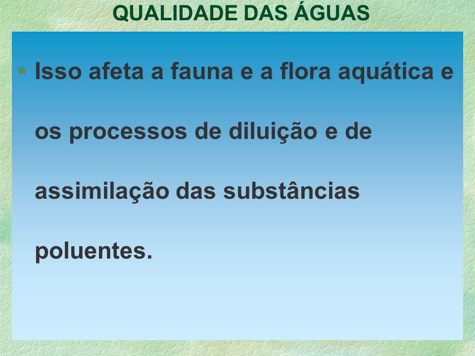 QUALIDADE DAS ÁGUASIsso afeta a fauna e a flora aquática e os processos de diluição e de assimilação das substâncias poluentes.