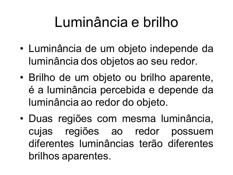 Luminância e brilho Luminância de um objeto independe da luminância dos objetos ao seu redor.