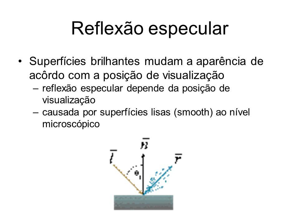 Reflexão especular Superfícies brilhantes mudam a aparência de acôrdo com a posição de visualização.