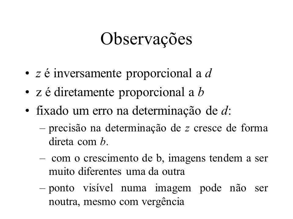 Observações z é inversamente proporcional a d