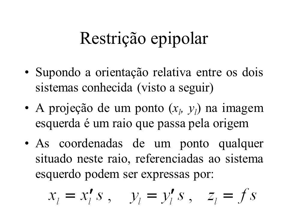 Restrição epipolar Supondo a orientação relativa entre os dois sistemas conhecida (visto a seguir)