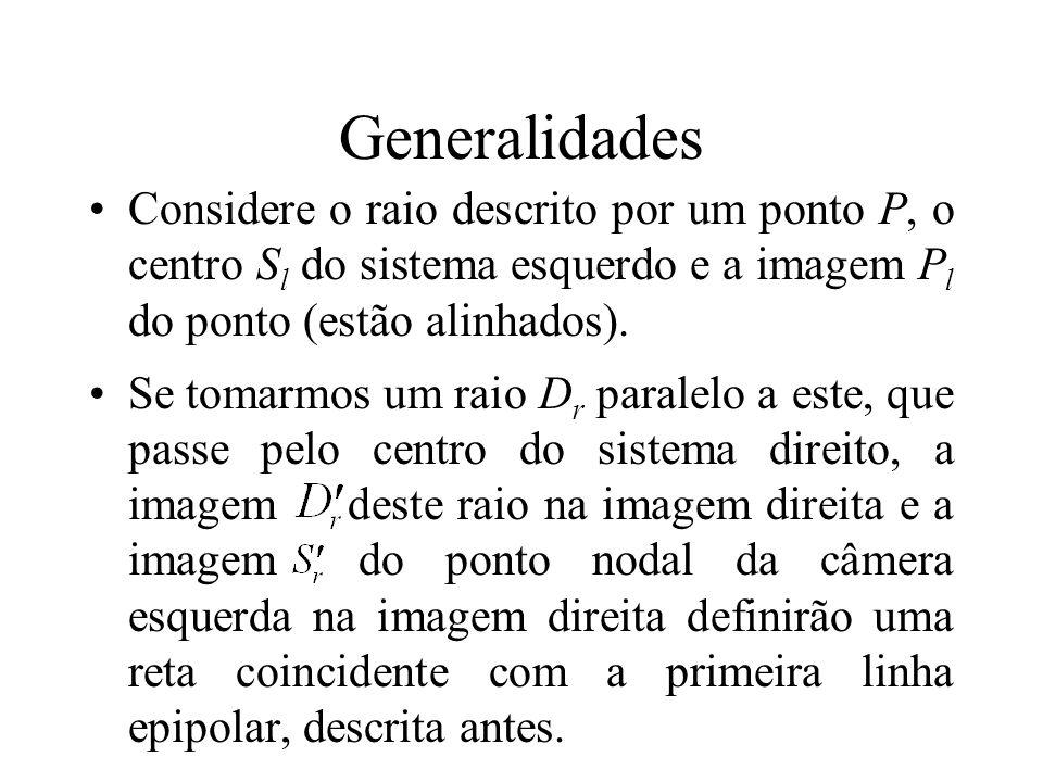 Generalidades Considere o raio descrito por um ponto P, o centro Sl do sistema esquerdo e a imagem Pl do ponto (estão alinhados).