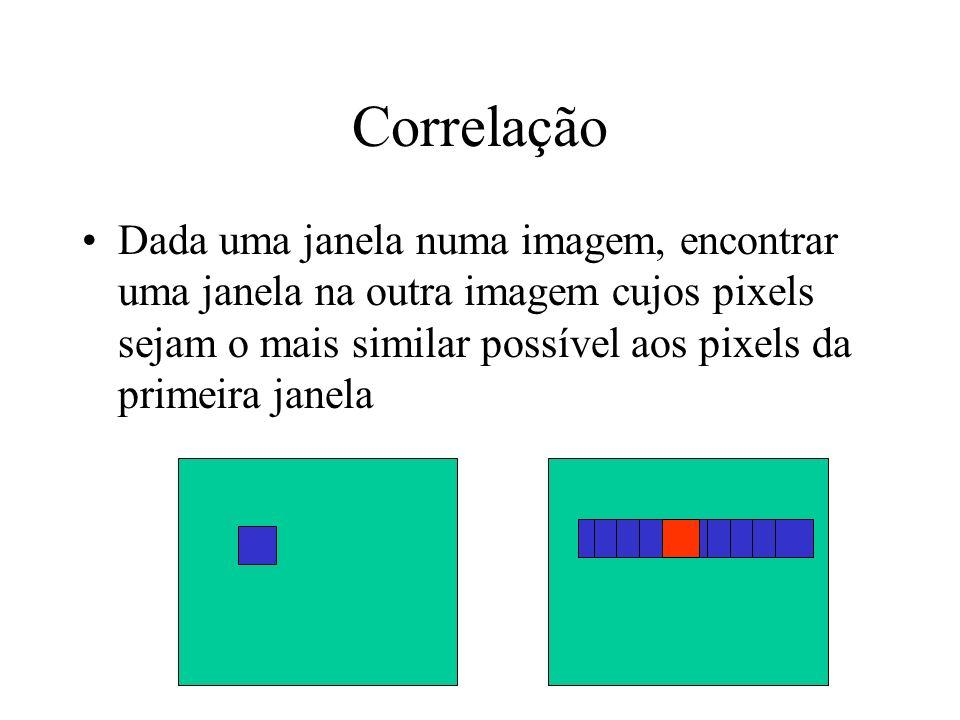 Correlação Dada uma janela numa imagem, encontrar uma janela na outra imagem cujos pixels sejam o mais similar possível aos pixels da primeira janela.