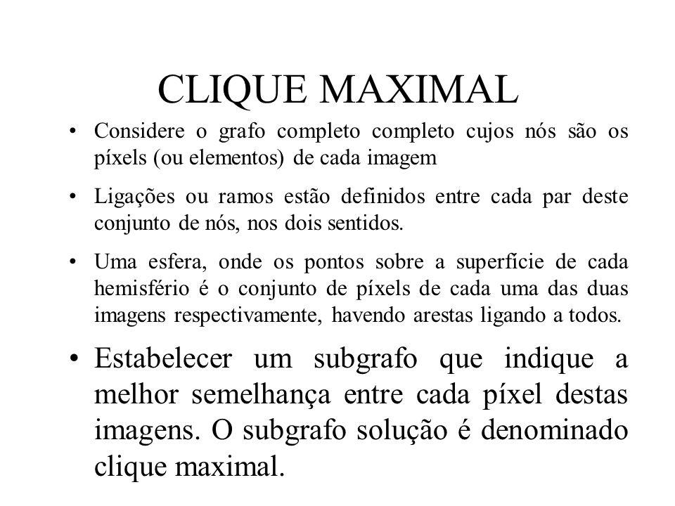 CLIQUE MAXIMAL Considere o grafo completo completo cujos nós são os píxels (ou elementos) de cada imagem.