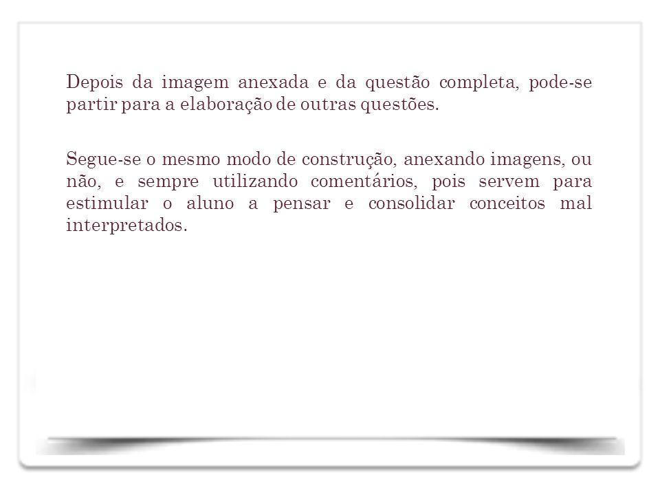 Depois da imagem anexada e da questão completa, pode-se partir para a elaboração de outras questões.