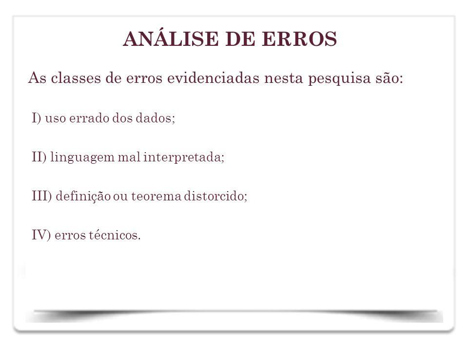 ANÁLISE DE ERROS As classes de erros evidenciadas nesta pesquisa são: