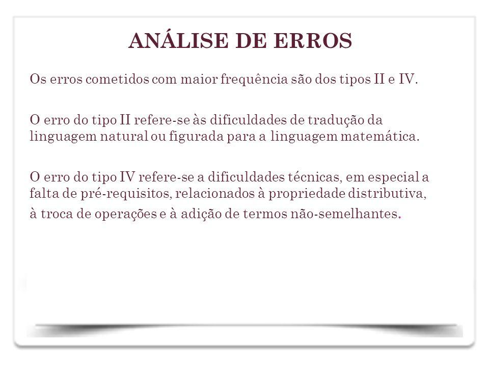 ANÁLISE DE ERROS Os erros cometidos com maior frequência são dos tipos II e IV.