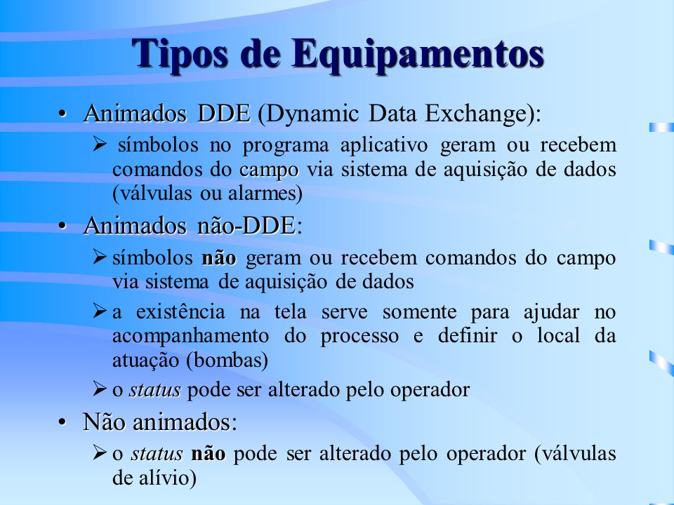 Tipos de Equipamentos Animados DDE (Dynamic Data Exchange):